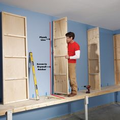 Diy storage 356488126748997709 - Store camping equipment, tools, toys, and even clothes in this oversized garage (or basement) storage cabinet. Sliding doors keep everything clean, and hanging it from the wall keeps everything dry and mold-free. Diy Garage Storage Cabinets, Diy Cabinet Doors, Garage Shelving, Basement Storage, Wall Storage, Garage Organization, Diy Cabinets, Garage Cupboards, Organized Garage