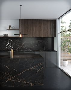Discover Dekton in Dekton Kitchen - Laurent 2018 by Cosentino. Design, value and inspiration to our client´s lives. Luxury Kitchen Design, Kitchen Room Design, Luxury Kitchens, Home Decor Kitchen, Interior Design Kitchen, Home Kitchens, Black Kitchens, Kitchen Designs, Interior Modern