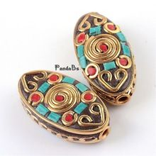 Handmade Indonesia Beads, Flat Oval, with Alloy Cores, Golden, 28.8x14.5~15x9~10mm, Hole: 2mm(China (Mainland))