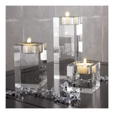 modern cube glass candle votives