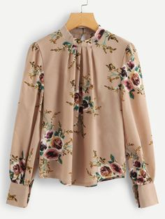 Shop Plus Button Keyhole Floral Print Blouse online. SHEIN offers Plus Button Keyhole Floral Print Blouse & more to fit your fashionable needs. Floral Blouse, Printed Blouse, Floral Tops, Trendy Outfits For Women, Blouses For Women Cute, Trendy Clothing, Stylish Outfits, Women's Clothing, Blouse Styles
