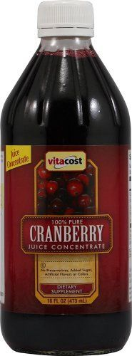 Vitacost 100% Pure Cranberry Juice Concentrate -- 16 fl oz by Vitacost Brand. $11.49. What is Vitacost 100% Pure Cranberry Juice Concentrate?Vitacost 100% Pure Cranberry Juice Concentrate is a convenient, delicious way to obtain the natural health benefits of cranberries. Each 16-ounce bottle provides 12 servings of 100% pure cranberry juice. Just mix one part juice concentrate with five parts water for a refreshing, anytime beverage.Cranberries, a deep-red, tart-tast...