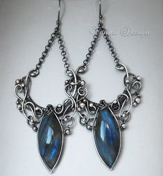RESERVED for Renee - Helen Of Troy- Fine/sterling silver and labradorite chandelier earrings. via Etsy.
