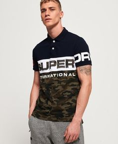 Shop Superdry Mens International Camo Short Sleeve Jersey Polo Shirt in Highland Navy Camo. Buy now with free delivery from the Official Superdry Store. Mens Fashion Wear, Fashion Pants, Fashion Night, Polo Rugby Shirt, Rugby Shirts, Camo Shorts, Superdry Mens, Short Sleeve Polo Shirts, Urban Fashion