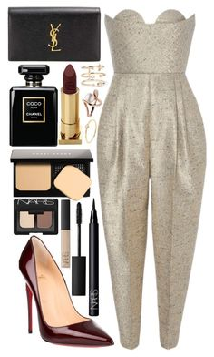 """""""golden gal"""" by velvet-ears ❤ liked on Polyvore featuring Christian Louboutin, Delpozo, Yves Saint Laurent, Chanel, Bobbi Brown Cosmetics, Lipstick Queen, NARS Cosmetics, Andrea Fohrman and Sydney Evan"""