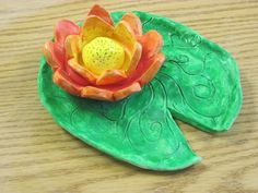 Monet Clay Waterlily and Lilypad- bisqueware dipped in diluted tempera