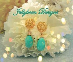 14k Vermeil Gold and Sleeping Beauty Turquoise gemstone post/stud earrings -  by Jellybean Designs www.madeit.com.au/jellybeandesigns #turquoise #gold #blue #earrings #jellybeandesigns