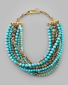 Julie 7-Strand Beaded Necklace, Turquoise by Paige Novick at Neiman Marcus.