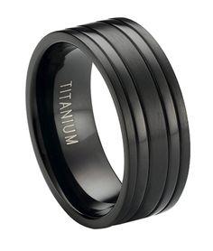 Black Titanium Wedding Band with Satin Finish and Polished Bands   8mm - JT0171