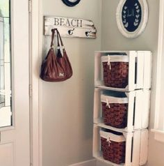 #crates used as #storage #beachdecor #shabby