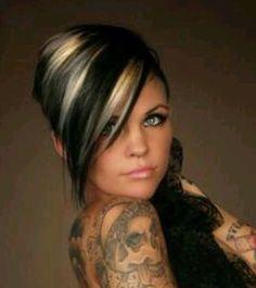 Dark hair with blonde chunks