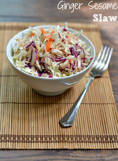 This Ginger Sesame Slaw has simply exquisite taste. Serve along side of grilled chicken for a perfect healthy meal.