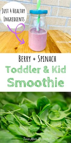 This berry spinach smoothie is an easy recipe to make for kids or toddlers. This is a good food idea for breakfast or serve with lunches or a healthy snack for toddlers! recipe for toddlers Spinach Toddler and Kid Smoothie Recipe Toddler Smoothies, Healthy Toddler Snacks, Easy Smoothies, Toddler Food, Green Smoothies, Smoothies For Babies, Good Snacks For Kids, Healthy Breakfast For Toddlers, Healthy Meals For Toddlers
