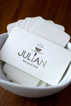 "Julian restaurant - branding. Very clean logo. Nice use of the spoon. Not sure I understand why the ""N"" is different"