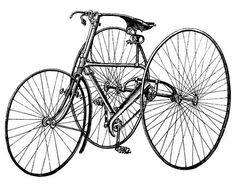 Vintage Clip Art Early Bicycle - Tricycle - Steampunk - The Graphics Fairy