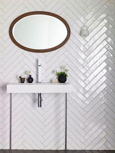 Monastir White Gloss tiles. New format which is perfect for herringbone! | Mandarin Stone: