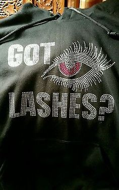 Women's *Younique* GOT LASHES Bling HOODIE LARGE in Black
