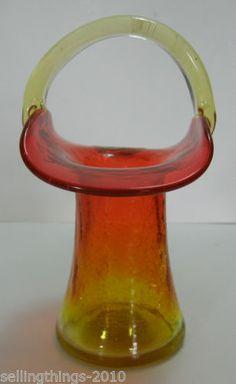 Kanawha Amberina Crackle Glass Basket Vase