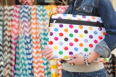 The world is a better place with polka dots in it!  The On the Spot laptop sleeve from Studio C!  #ShopStudioC #laptop