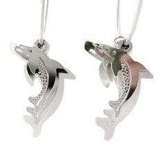 3D Dolphin Shaped Dangle Hoop Earrings in Silver | Animal Jewelry