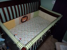 Crib Teething Rail to Fit ANY Crib/ Bumper Pads By The Foot. $ 6.50, via Etsy. You could make this by taking pool noodles cutting one side and then covering with fabric