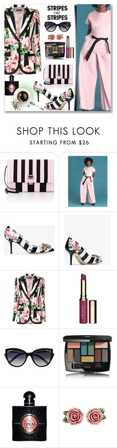 """""""Pattern Challenge: Stripes on Stripes (Formal Style)"""" by jecakns ❤ liked on Polyvore featuring Proenza Schouler, Dolce&Gabbana, Clarins, La Perla, Chanel and Yves Saint Laurent"""