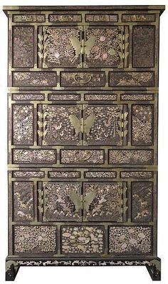 Stunning Korean Three Section Cabinet w/ Mother of Pearl Inlay