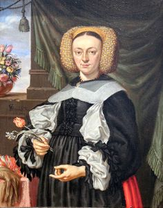1664 Portrait of a Woman with Flowers- by Georg Strauch