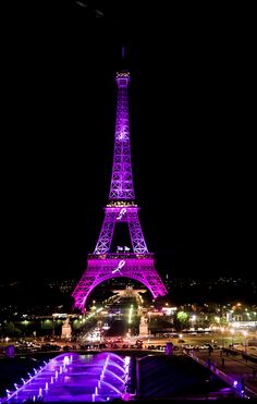 Pink Eiffel tower - National Breast Cancer Awareness Month - Paris France - photo by Yann Caradec