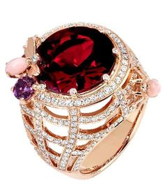 Chaumet cocktail ring (Vogue.com UK) - pyrope garnet, pink opal, rose gold and diamonds