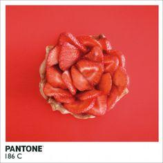 couleurs Pantone réalisées à partir d'aliments de la couleur concernée  Pantone 186 C