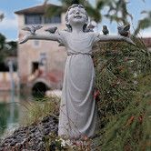 Design Toscano Basking in God's Glory Little Girl Outdoor Garden Statue, Medium, 18 Inch, Two Tone Stone Outdoor Garden Statues, Outdoor Gardens, Angels Garden, Gods Glory, Lawn Ornaments, Bird Statues, Garden Inspiration, Garden Ideas, Yard Art