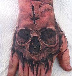 Skull Rose Tattoos, Skull Hand Tattoo, Evil Tattoos, Skull Sleeve Tattoos, Hand Tats, Skull Tattoo Design, Tattoo Design Drawings, Tattoo Sleeve Designs, Tattoo Designs Men