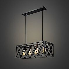 Efine Vintage Industrial Lighting 4 Lights Edison Retro Rustic Metal Black Rectangle Chandelier for Kitchen Foyer Island Shade Max 240w NO Glass