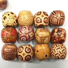 100 pcs 10mm Mixed Wood Round Beads for Jewelry Making Loose Spacer Charms