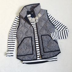 {J. Crew} Herringbone Quilted Excursion Vest J. Crew quilted excursion vest in black and white herringbone ••• 100% polyester body Perfect condition Size XXS ~~~ This coveted J. Crew vest is a preppy staple and goes with everything. Selling because I just got a new one off posh and don't need two. J. Crew Jackets & Coats Vests