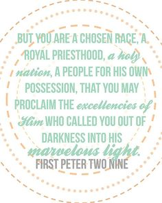 1 Peter 2:9, Free Printable from @Jessi Connolly at Naptime Diaries