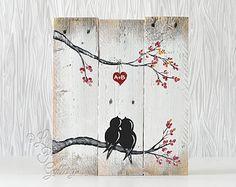 Tú y yo signo signo reclamado madera arte 5 aniversario amor