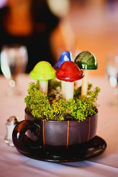 Teacup and mushroom centerpieces
