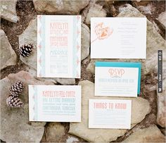 teal and orange wedding invite | VIA #WEDDINGPINS.NET