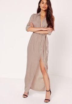 Missguided - Satin Wrap Collar Maxi Dress Grey