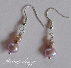 Beautiful pink freshwater pearl earrings. from Lisa Astrup Art & craft by DaWanda.com