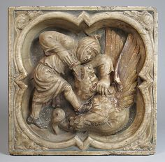 Relief with Monk Killing Dragon, 19th or 20th century. French. The Metropolitan Museum of Art, New York. The Cloisters Collection, 1936 (36.79.4) #Cloisters