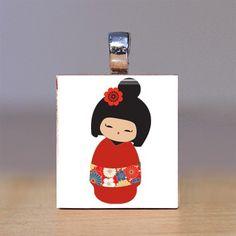Cute Kokeshi Necklace
