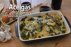 ACELGAS A LA EXTREMEÑA Cooking Recipes, Healthy Recipes, Healthy Food, Home Food, Foods With Gluten, Spanish Food, Empanadas, Palak Paneer, Side Dishes