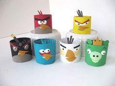Angry Birds Tubes | 22 Cool Kids Crafts You Can Make From Toilet Paper Tubes