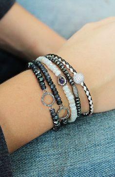 Diamond White Sapphire Stacking Bracelet http://ift.tt/1vKG02p