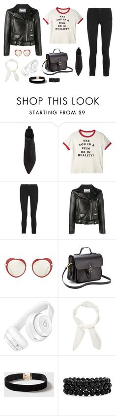 """""""Untitled #1089"""" by alex-gucka ❤ liked on Polyvore featuring Acne Studios, Frame, Miu Miu, The Cambridge Satchel Company, Beats by Dr. Dre, Chloé, Dorothy Perkins and Bling Jewelry"""