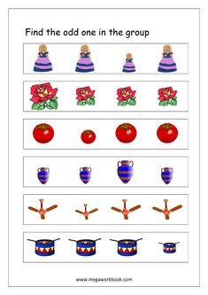 Free General Aptitude Worksheets - Odd One Out Worksheets - MegaWorkbook Kindergarten Homeschool Curriculum, Literacy Worksheets, Kindergarten Lessons, Worksheets For Kids, Cognitive Activities, Preschool Learning Activities, Alphabet Activities, Preschool Activities, Alphabet Practice Sheets