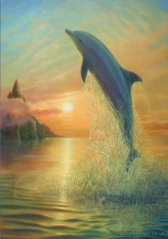 A Golden Sunrise Dolphin Poster - Dolphin Drawing, Dolphin Painting, Dolphin Art, Dolphins Tattoo, Bottlenose Dolphin, Water Animals, Delphine, Fantastic Art, Marine Life